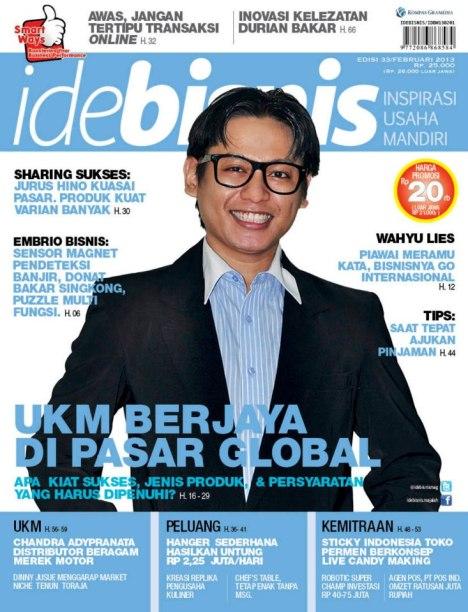 Wahyu Liz Adaideaja coverboy majalah ide Bisnis Februari 2013
